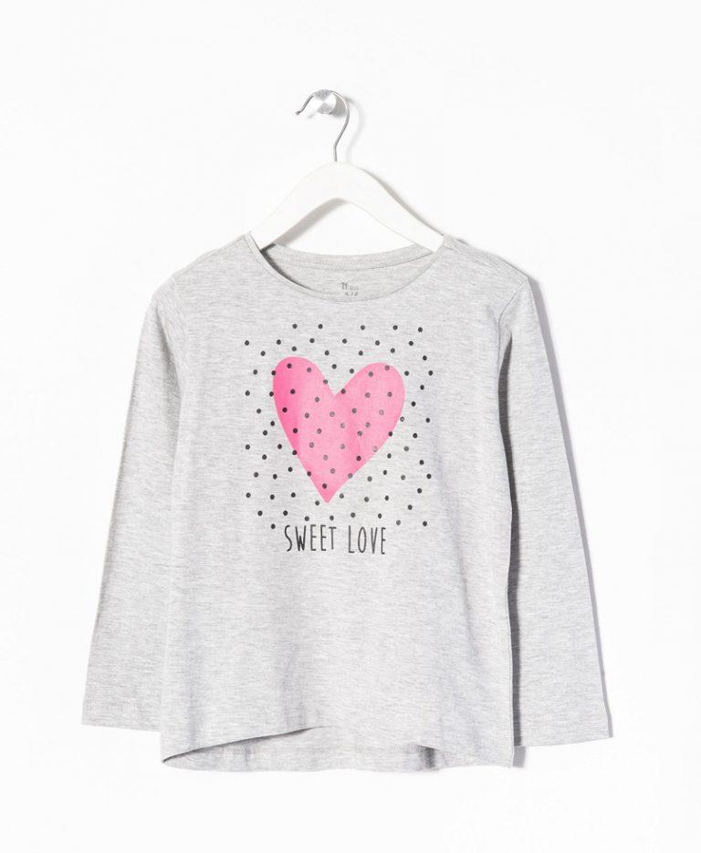 Μπλούζα μακό μακρυμάνικη με σχέδιο στο στήθος «Sweet Love»