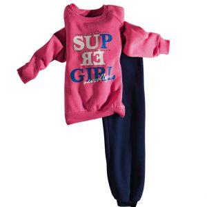 Φόρμα Φούτερ Για Κορίτσι Ροζ - Μπλε