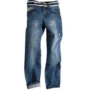 Παντελόνι Τζιν Με Ζώνη Και Σχέδιο Στη Τσέπη