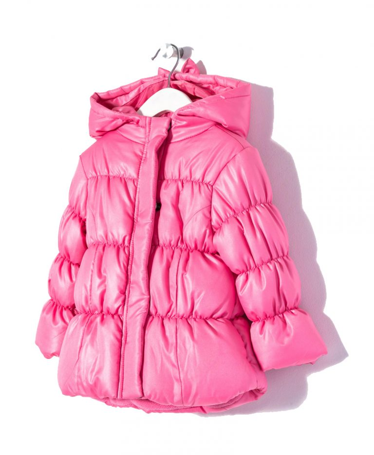 Μπουφάν Χειμωνιάτικο Ροζ Με Κουκούλα