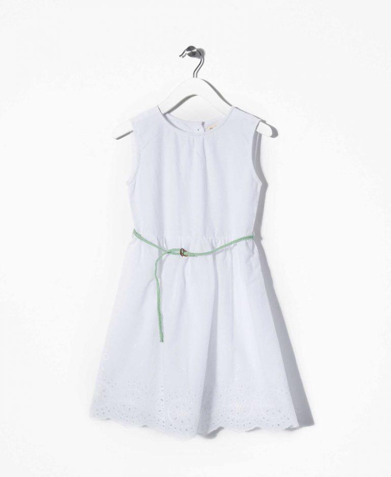 Φόρεμα Αμάνικο Λευκό Με Ζώνη
