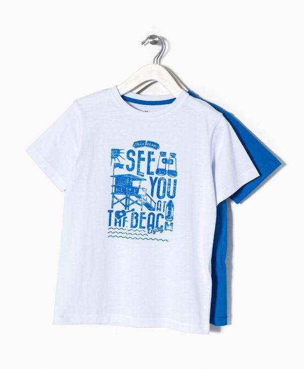 Σετ 2 τεμάχια Μπλούζες Κοντομάνικες Λευκή & Μπλε Ραφ