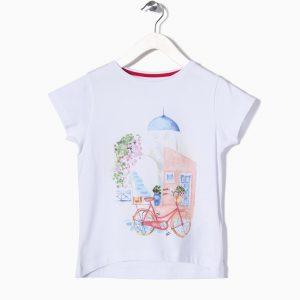 Κοντομάνικη Μπλούζα Με Τύπωμα Για Κορίτσι