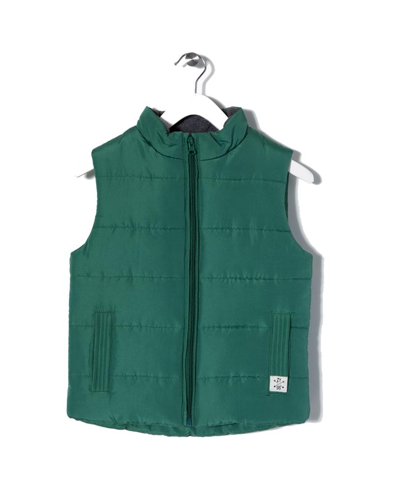 Παιδικό Γιλέκο Πράσινο Καπιτονέ Με Επένδυση Fleece