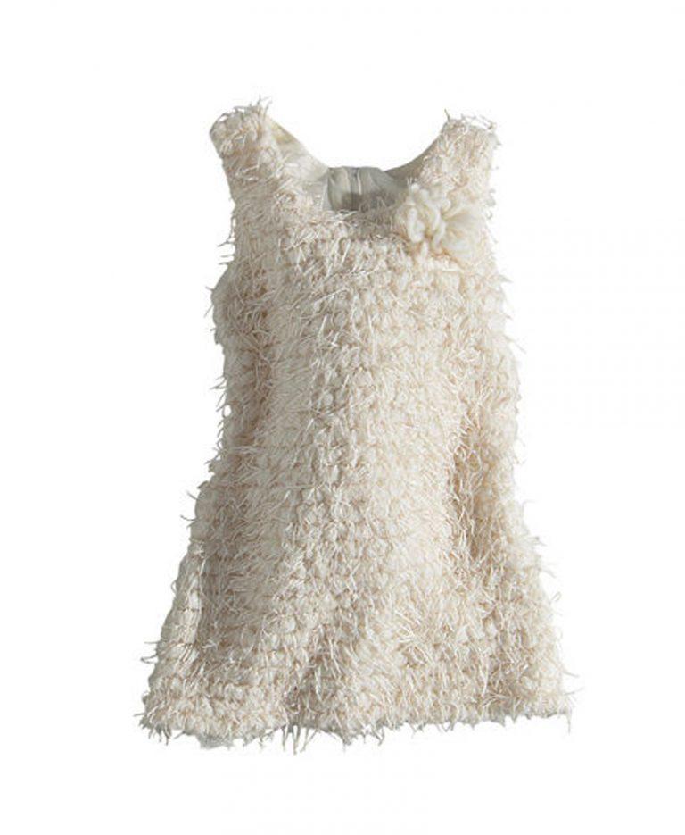 Φόρεμα Αμάνικο Εκρού Με Πον-Πον