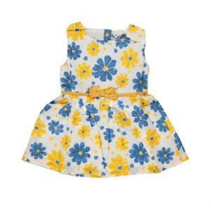 Φόρεμα Μπεμπέ Αμάνικο Με Λουλούδια Κίτρινο-Μπλε