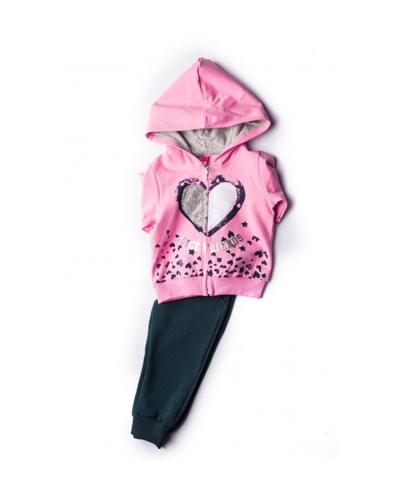 Φόρμα Φούτερ Με Ζακέτα Για Κορίτσι Ροζ - Μπλε