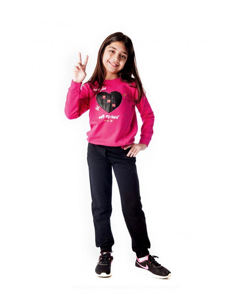 Φόρμα Φούτερ Για Κορίτσι Φούξια - Μαύρο Have Fun Joyce  4edaa0ff3d5
