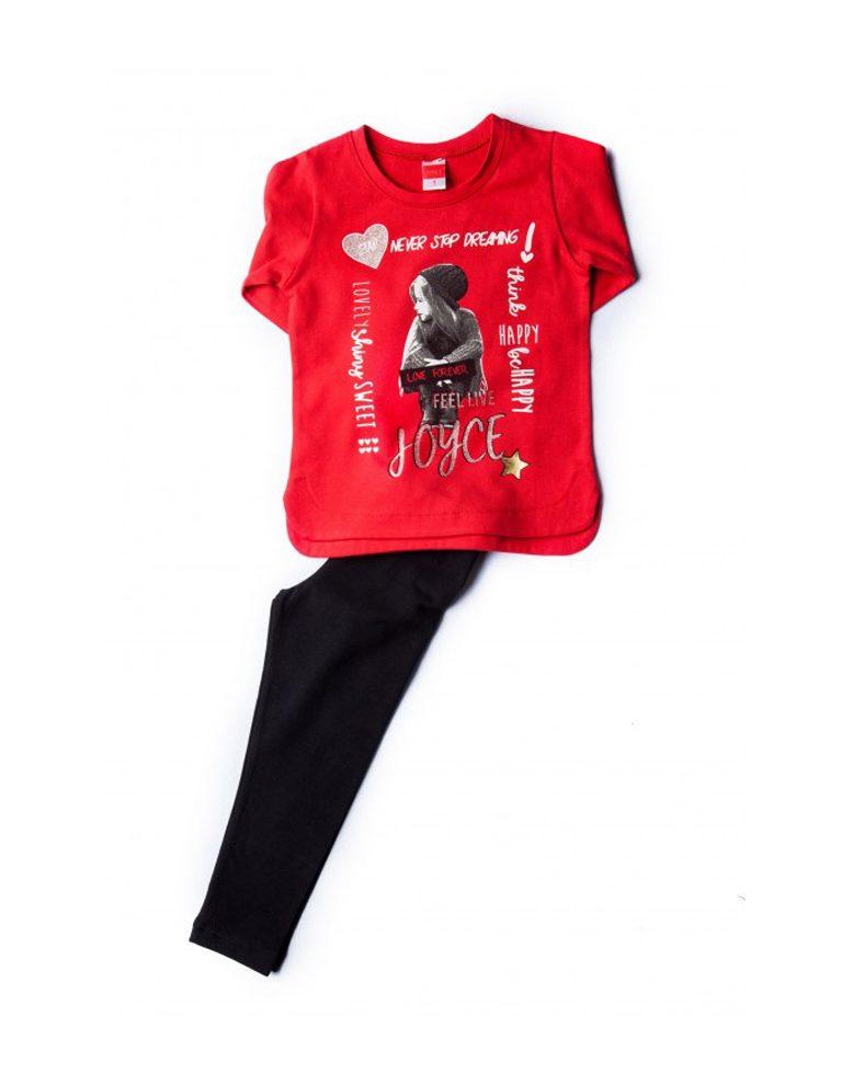 6c3871a01c13 Σετ Μπλούζα Μακό Κόκκινη   Κολάν Μαύρο Be Happy Joyce