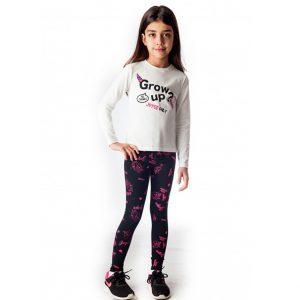 Σετ Για Κορίτσι Μπλούζα Μακό Εκρού & Κολάν Μαύρο Εμπριμέ
