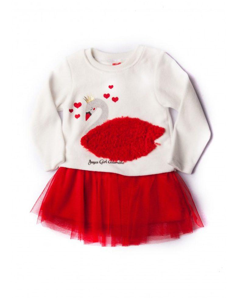 18a509eba47 Φόρεμα Swan Λευκό/ΚόκκινοΓια Κορίτσι 86804 Joyce   Poulain.gr