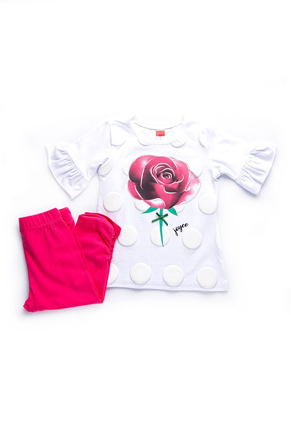 Σετ Για Κορίτσι Μπλούζα Μακό Λευκή & Κολάν Κάπρι Ροζ Rose