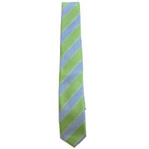 Γραβάτα Εφηβική Ριγέ Λαχανί/Γαλάζιο