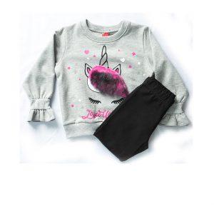 Σετ Unicorn Για Κορίτσι 1-5 Μπλούζα Φούτερ Γκρι & Κολάν Μαύρο