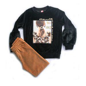 Σετ Βελουτέ Luxury Για Κορίτσι 6-14 Μπλούζα Μαύρη & Κολαν Καφέ