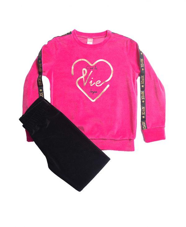 Σετ Βελουτέ Vie Για Κορίτσι 6-14 Μπλούζα Φούξια & Κολαν Μαύρο
