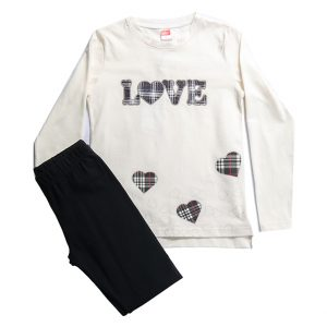 """Σετ """"Love"""" Για Κορίτσι 6-14 Μπλούζα Εκρού & Κολαν Μαύρο"""