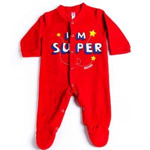 """Βρεφικό Φορμάκι Βελουτέ Κόκκινο """"I'm Super"""" 19407 Dreams"""