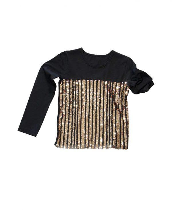 Μπλούζα Μαύρη Με Χρυσές Ρίγες Παγιέτας 31-9066 New College
