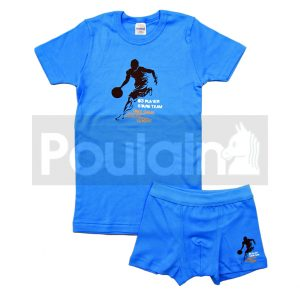 """Σετ Εσώρουχα Φανελάκι & Μποξεράκι Μπλε """"Basketball"""" Pretty Baby"""