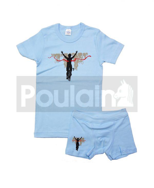 """Σετ Εσώρουχα Φανελάκι & Μποξεράκι Γαλάζιο """"Bicycle"""" Pretty Baby"""