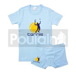 """Σετ Εσώρουχα Φανελάκι & Μποξεράκι Γαλάζιο """"Tennis"""" Pretty Baby"""
