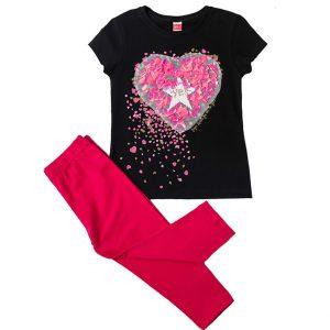 """Σετ Μπλούζα & Κολάν Κάπρι """"Glitter Heart"""" 211522 Joyce"""
