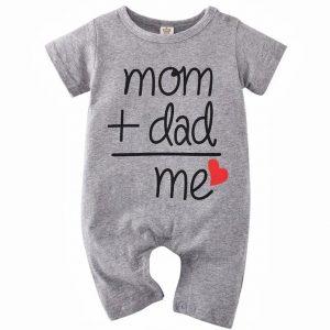 Βρεφικό Φορμάκι Γκρι Κοντομάνικο Mum+Dad=Me