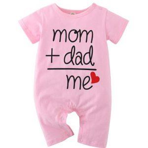 Βρεφικό Φορμάκι Ροζ Κοντομάνικο Mum+Dad=Me