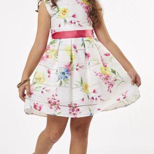 Φόρεμα Λευκό/Φλοράλ Με Τσαντάκι Εβίτα