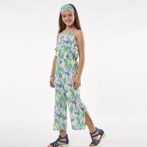 Ολόσωμη Φόρμα Floral Jumpsuit Με Μπαντάνα Εβίτα