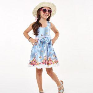 Φόρεμα Ριγέ Σιέλ & Ψάθινο Καπέλο Εβίτα | Poulain.gr
