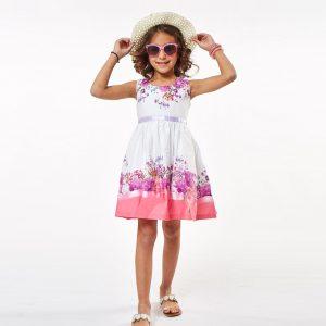 Φόρεμα Φλοράλ Λευκό/Ροζ & Ψάθινο Καπέλο Εβίτα