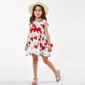 Φόρεμα Με Κόκκινα Λουλούδια & Ψάθινο Καπέλο Εβίτα | Poulain.gr