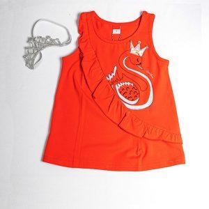 """Φόρεμα Κόκκινο """"Swan"""" Με Κορδέλα Στεματάκι 211162 Joyce"""