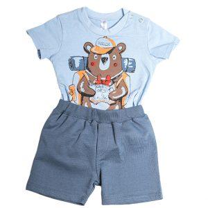 """Βρεφικό Σετ Κορμάκι & Σορτς Σιέλ/Μπλε """"Adventure Bear"""" 212066 Dreams"""