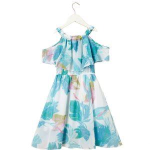 """Φόρεμα """"Tropical Leaves"""" Εμπριμέ"""