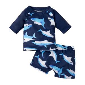"""Βρεφικό Αντιηλιακό Σετ Μαγιό Μπλε """"Shark"""""""