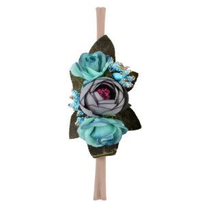 Παιδική Κορδέλα Μαλλιών 3D Λουλούδια Τιρκουάζ