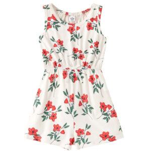 """Ολόσωμη Φόρμα Jumpsuit """"Pink Flowers"""" Λευκή"""