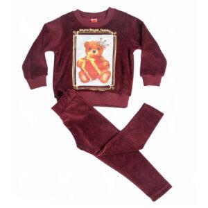 """Παιδική Φόρμα Βελουτέ """"Royal Bear"""" Γκρενά 216128 Joyce"""