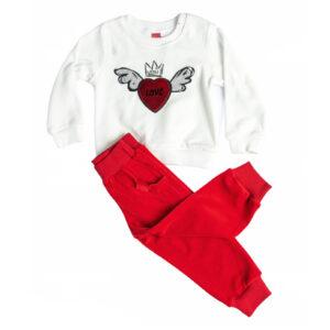 """Φόρμα Βελουτέ """"Heart"""" Λευκό/Κόκκινο 216129 Joyce"""