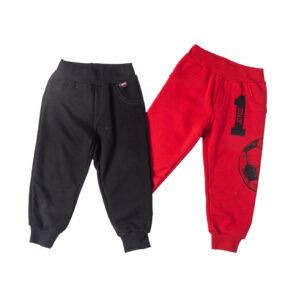 """Σετ 2 Εποχιακά Παντελόνια Φόρμας """"Soccer Ball"""" Κόκκινο & Μαύρο"""