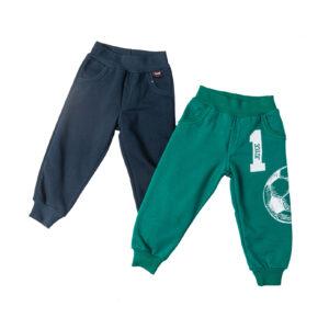 """Σετ 2 Εποχιακά Παντελόνια Φόρμας """"Soccer Ball"""" Πράσινο & Μπλε"""