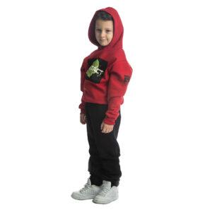 """Παιδική Φόρμα Φούτερ Με Κουκούλα Για Αγόρι Κόκκινο/Μαύρο """"Contact"""" 216707 Joyce"""