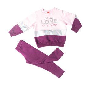 """Παιδική Φόρμα Φούτερ """"Enjoy Love"""" Μωβ/Ροζ 216109 Joyce"""