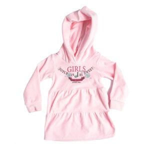 Παιδικό Φόρεμα Βελουτέ Με Κουκούλα Ροζ 216161 Joyce