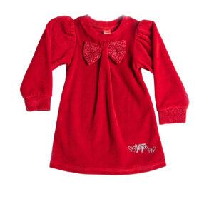 """Παιδικό Φόρεμα Βελουτέ Κόκκινο """"Bow"""" 216163 Joyce"""