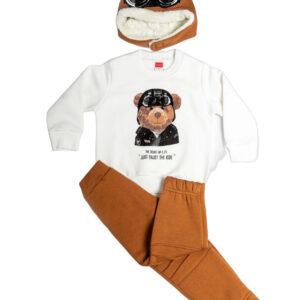 """Παιδική Φόρμα Φούτερ Με Σκούφο """"Joy Ride"""" Λευκό/Κάμελ 216311 Joyce"""