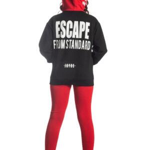 """Παιδικό Σετ Μπλούζα Φούτερ Με Κουκούλα & Κολάν Μαύρο/Κόκκινο """"Escape"""" 216510 Joyce"""